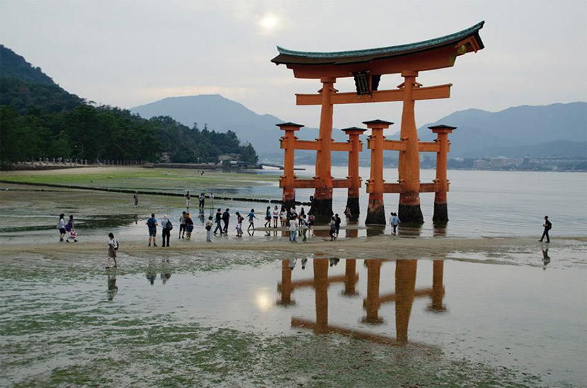 Itsukushima Shrine's torii gate.